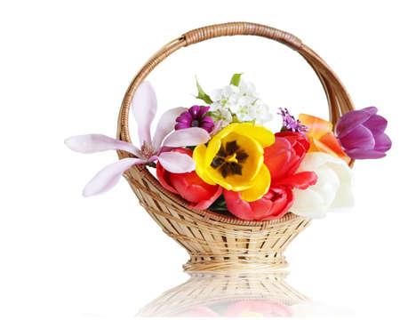 Basket of flower, isolated on white background, photo