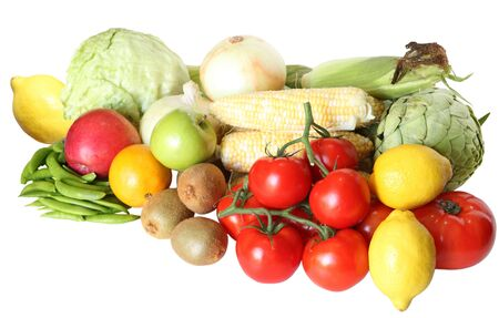 Fresh vegetable and fruits isolated on white background photo