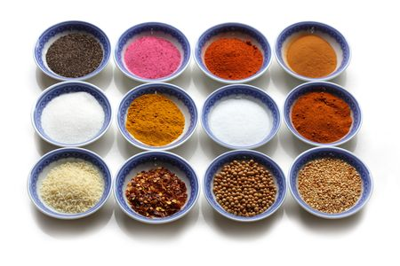 glutamate: Oriental spices  in the bows over  white background Stock Photo