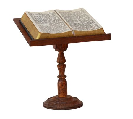read bible: Bible on wooden stand isolated on white Stock Photo