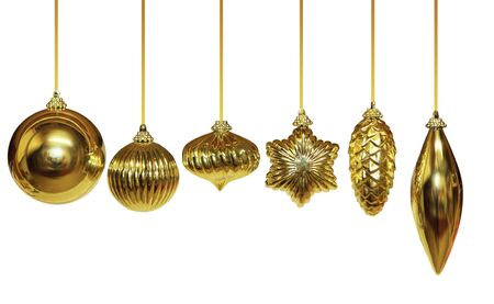 Six of different shape of golden Christmas ornament
