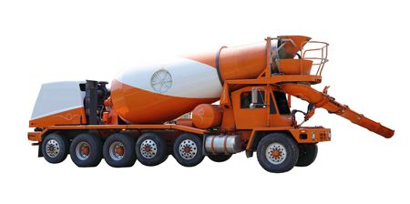 concrete mixer truck: Cement mixer truck isolated on white background