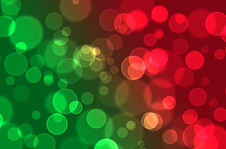 Red orange green abstract bokeh background for christmas