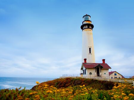 Pigeon Point Lighthouse along Pacifice coastline in California