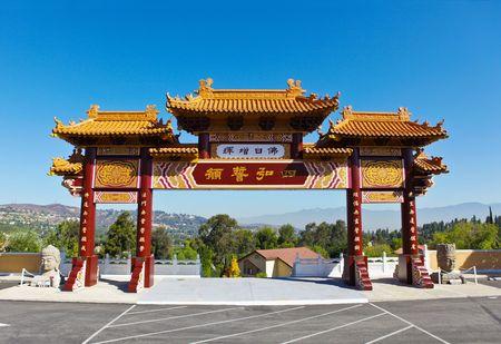 Poorten van de Hsi Lai tempel in Californië