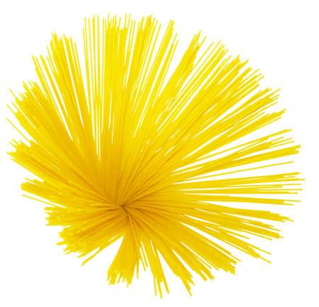 Bundle of dry spaghetti isolated on white background photo