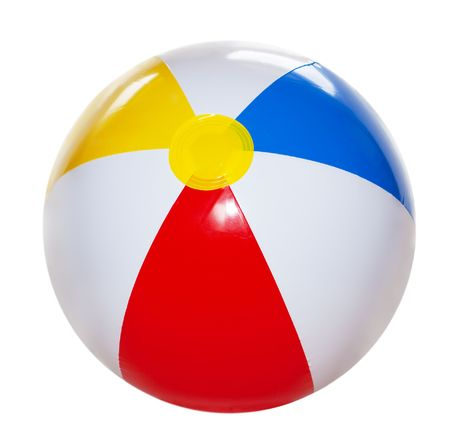 Single beach ball isolated on white background Stock Photo - 5831658