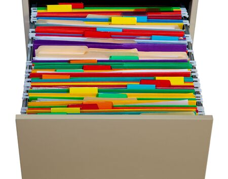 chaos: Color folders in the cabinet isolated on white background