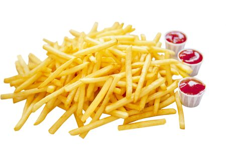 french fries: Pile of french fries and three cups of ketchup  Stock Photo