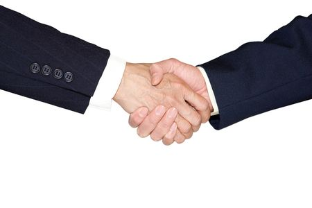 Hand shake between two persons isolated on white Stock Photo - 6157644