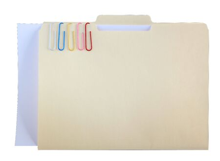 Manila folder and five papper clips with blank paper Stock Photo - 6357351