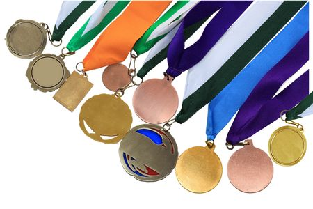 Collection of medals in different shape and colors  photo