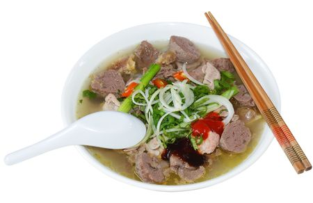 vietnamese food: Bowl of Vietnamese food pho tai beef noodles Stock Photo