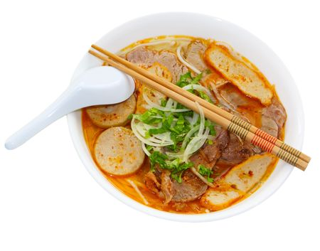 Bowl of bun bo hue beef noodle soup Vietnamese food Stock Photo - 6759849