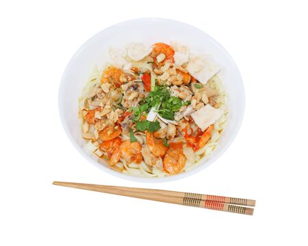 vietnamese food: Bowl of mi quang vietnamese food isolated on white