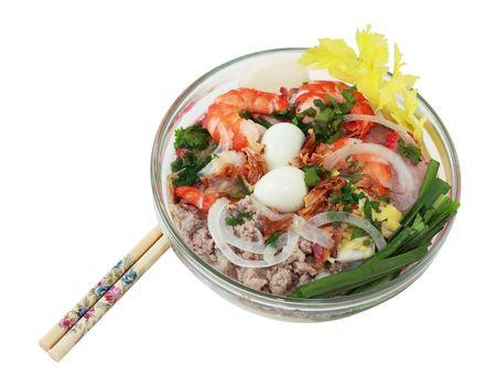 vietnamese food: Bowl of phnom penh noodle soup Vietnamese food Stock Photo