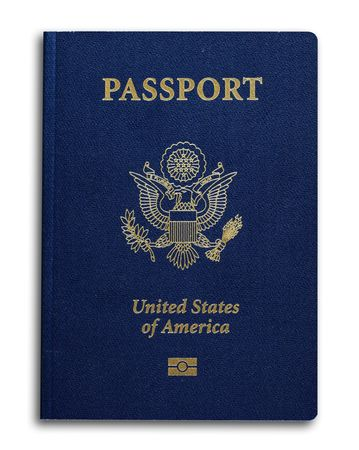 overseas visa: New US passport with ID chip isolated on white Stock Photo