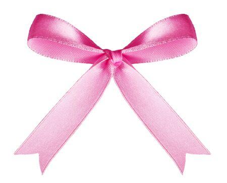 lazo rosa: �nico arco Rosa satinado aislado sobre fondo blanco