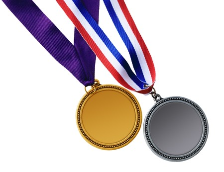 Gold and silver medals isolated on white background