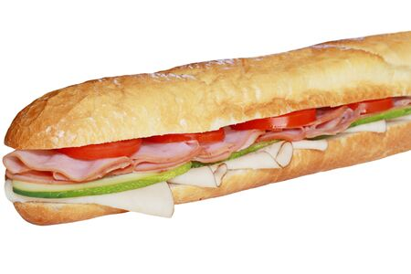Long french baguette loaf with ham and vegetable photo