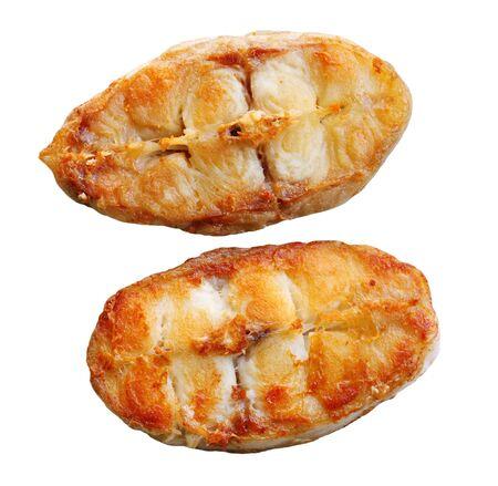 Delicious fried catfish slices isolated on white Stock Photo - 6971594