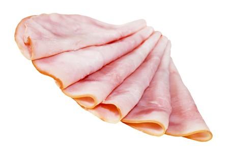 Folded slices of ham isolated on white background
