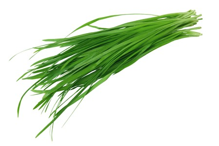 Bundle of garlic chives isolated on white background Фото со стока