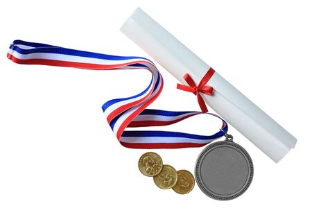 Medal, diploma and golden dollar coins isolated on white photo