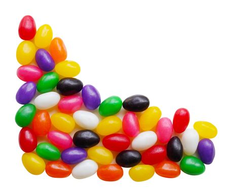 Colorful jelly bean candys over white background