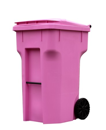 Single pink trash can isolated on white background