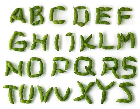 흰색 배경 위에 콩 알파벳 문자 집합