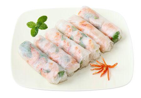 vermicelli: Rollitos de primavera de Vietnamse con lechuga, menta, camarones y fideos  Foto de archivo