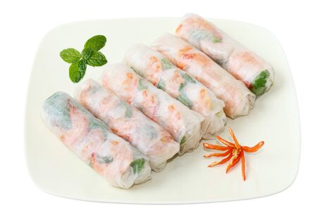Vietnamse spring rolls with lettuce, mint, shrimp and vermicelli photo