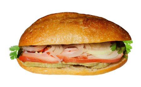 Vietnamese Sandwich isolated on white background