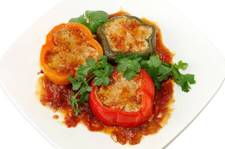 Bell peppers stuffed with ground pork and shrimp Imagens