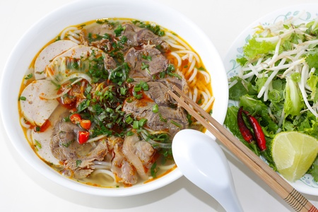 vietnamese food: Beef Noodles in a bowl, vietnamese food, very spicy Stock Photo