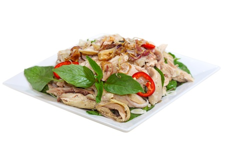 goi: Chicken salad Vietnamese cuisine called ga xe phay with onions  and herbs