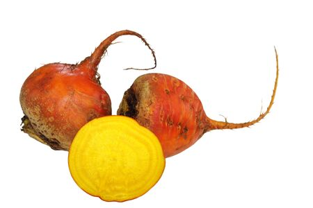 Organic Beetroot burpees golden isolated on white background