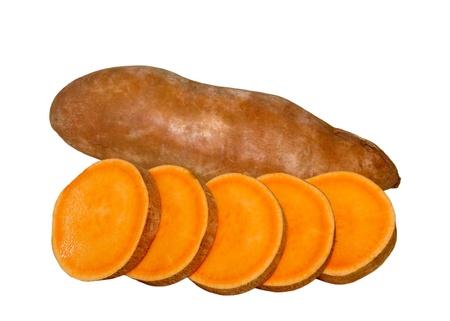 sweet potato: Sweet potatoes yams isolated on white background Stock Photo