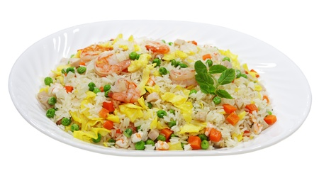 Fried rice with shrimp, meat, egg and vegetable, Vietnamese cuisine Фото со стока