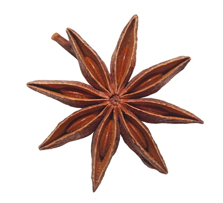 Single dried anise star isolated on white Stock Photo - 8441400
