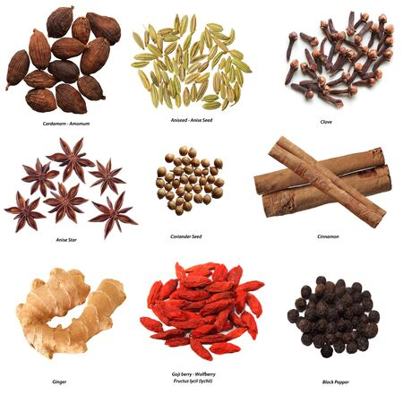 ingefära: Set of nine spices isolated on white
