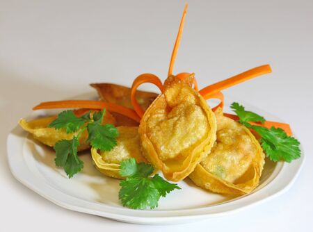 Fried wonton stuffed with pork, shrimp and vegetable