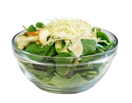 'baby spinach': Bowl of baby spinach complete salad