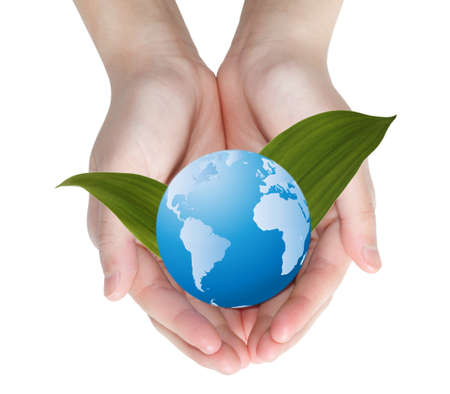 Blue globe over green leaves in hands