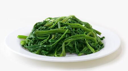 vietnamse: Water spinach on choy stir fried with mince garlic, Vietnamse cuisine Stock Photo