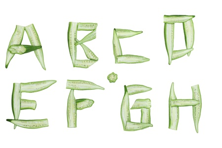 letter c: Set of alphabet made from okra isolated on white Stock Photo