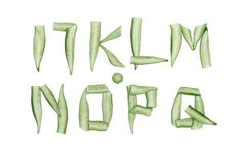 Set of alphabet letters from I to Q made from okra