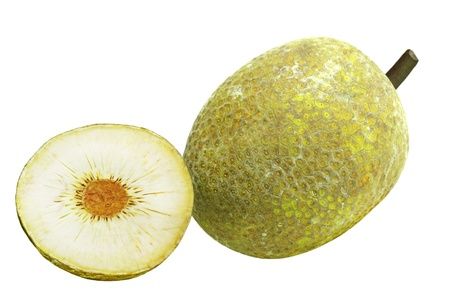 One and a half breadfruit isolated on white Stock Photo - 8669097