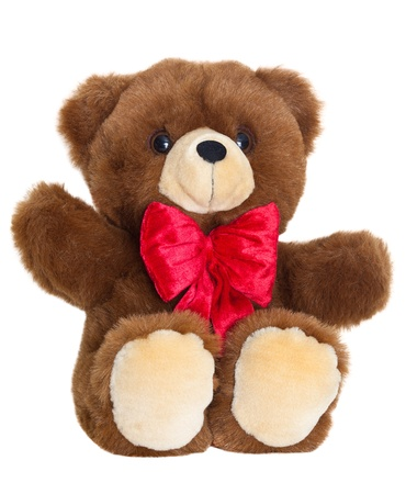 soft toy: Brown stuffed teddy bear with red bow